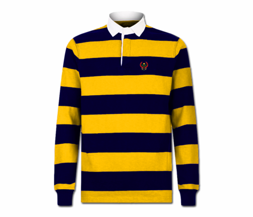 Men's Gold and Navy Blue Collard Heru Rugby Shirt (Long Sleeve)