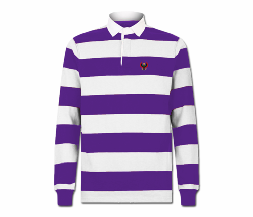 Men's Purple and White Collard Heru Rugby Shirt (Long Sleeve)