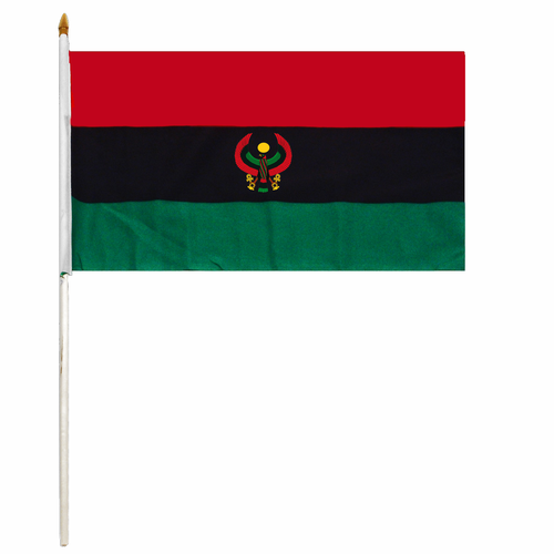 Pan African Handheld Flag with the Heru Falcon