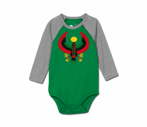Toddler Grass/Heather Grey Heru Baseball Onesie