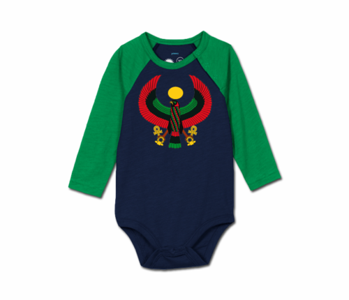 Toddler Grass/Navy Blue Heru Baseball Onesie
