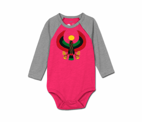 Toddler Raspberry/Heather Grey Heru Baseball Onesie