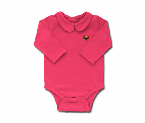 Girls Raspberry Toddler Long Sleeve Heru Collar Onesie