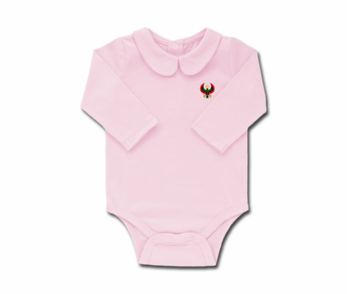 Girls Pink Toddler Long Sleeve Heru Collar Onesie