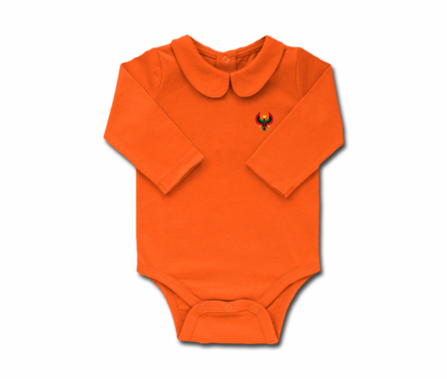 Girls Tangerine Toddler Long Sleeve Heru Collar Onesie