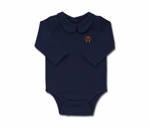 Girls Navy Blue Toddler Long Sleeve Heru Collar Onesie