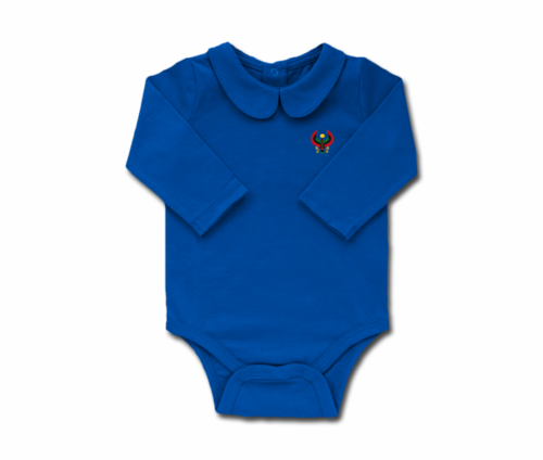 Girls Colbalt Blue Toddler Long Sleeve Heru Collar Onesie