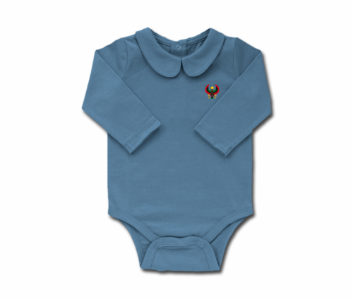 Girls Slate Blue Toddler Long Sleeve Heru Collar Onesie