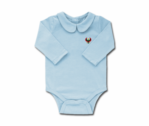 Girls Sky Blue Toddler Long Sleeve Heru Collar Onesie