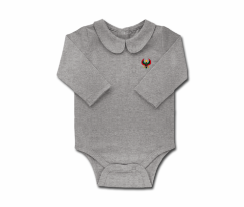 Girls Heather Grey Toddler Long Sleeve Heru Collar Onesie