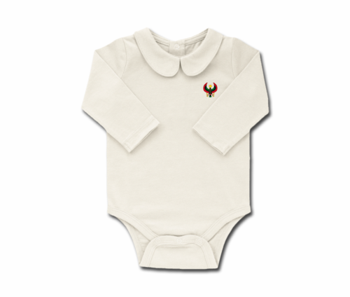 Girls Ivory Toddler Long Sleeve Heru Collar Onesie