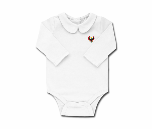 Girls White Toddler Long Sleeve Heru Collar Onesie