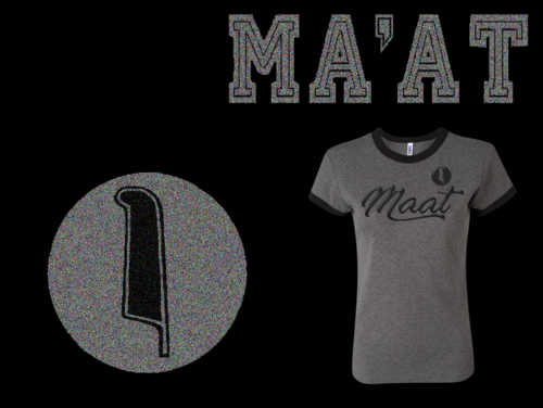 Women's Heather Grey and Black Ma'at Ringer T-Shirts with Foil