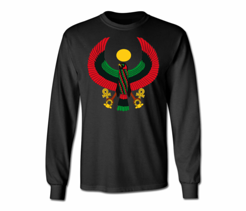 Men's Black Heru Long Sleeve T-Shirts