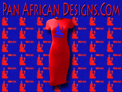 Women's Red with Royal Blue Glitter Maat T-Shirt Dress