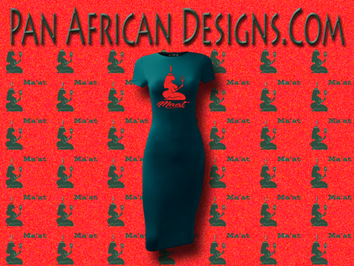 Women's Teal with Red Glitter Maat T-Shirt Dress