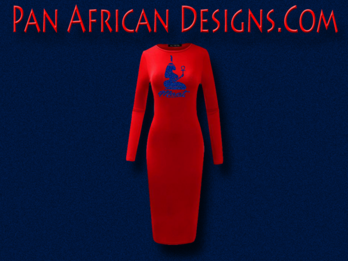 Women's Red with Royal Blue Glitter Long Sleeve Ma'at Bodycon T-Shirt Dress