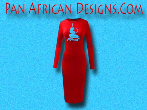 Women's Red with Light Blue Glitter Long Sleeve Ma'at Bodycon T-Shirt Dress