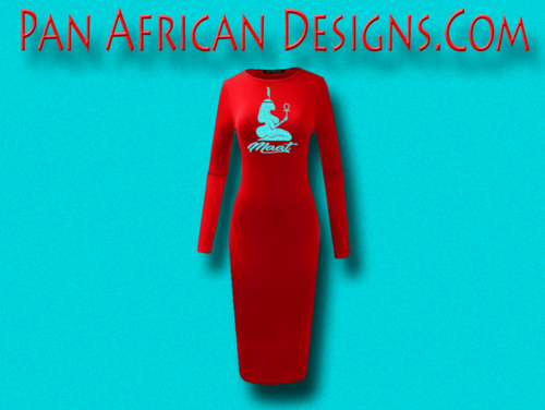 Women's Red with Aqua Blue Glitter Long Sleeve Ma'at Bodycon T-Shirt Dress