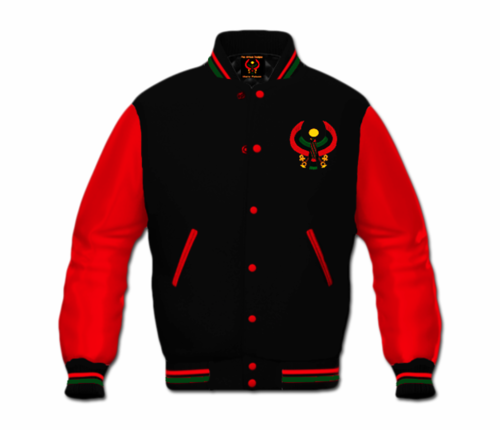 Men's Black and Red Heru Letterman Jacket