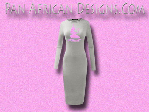 Women's Heather Grey with Neon Pink Glitter Long Sleeve Ma'at Bodycon T-Shirt Dress