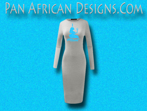 Women's Heather Grey with Light Blue Glitter Long Sleeve Ma'at Bodycon T-Shirt Dress