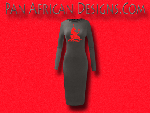 Women's Charcoal Grey with Red Glitter Long Sleeve Ma'at Bodycon T-Shirt Dress
