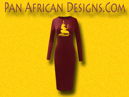 Women's Maroon with Gold Glitter Long Sleeve Ma'at Bodycon T-Shirt Dress
