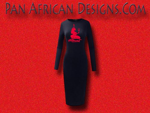 Women's Navy Blue with Red Glitter Long Sleeve Ma'at Bodycon T-Shirt Dress