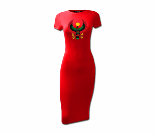 Women's Red Heru Short Sleeve Bodycon Dress