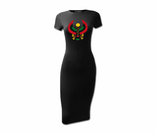 Women's Black Heru Short Sleeve Bodycon Dress
