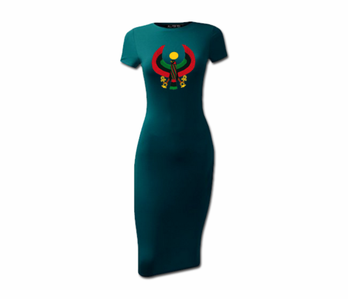 Women's Teal Heru Short Sleeve Bodycon Dress