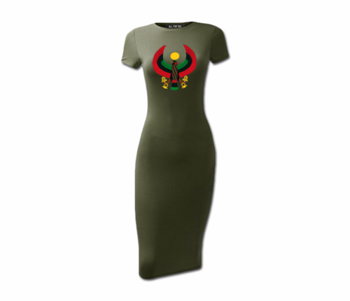 Women's Olive Green Heru Short Sleeve Bodycon Dress