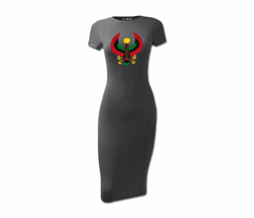 Women's Charcoal Grey Heru Short Sleeve Bodycon Dress