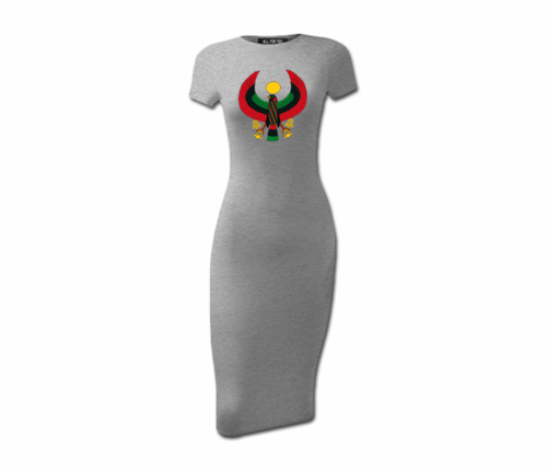 Women's Heather Grey Heru Short Sleeve Bodycon Dress