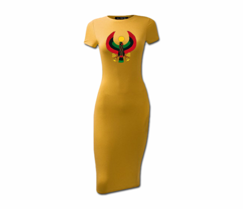 Women's Mustard Heru Short Sleeve Bodycon Dress
