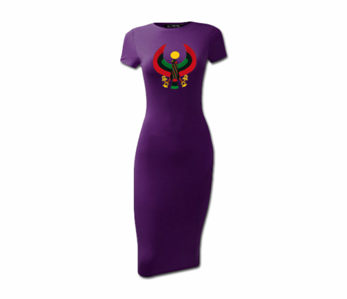 Women's Purple Heru Short Sleeve Bodycon Dress
