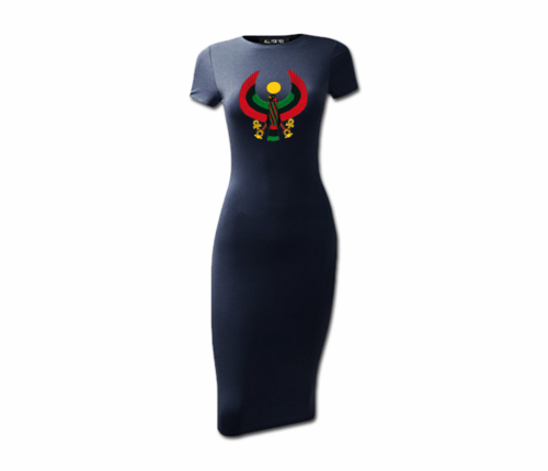 Women's Navy Blue Heru Short Sleeve Bodycon Dress