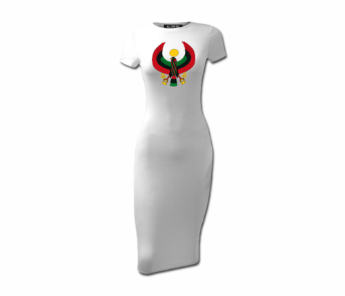 Women's White Heru Short Sleeve Bodycon Dress