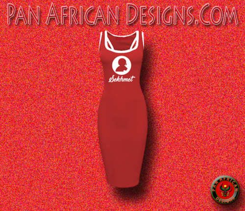 Women's Red with White Trim Goddess Sekhmet Casual Raceback Bodycon Dress