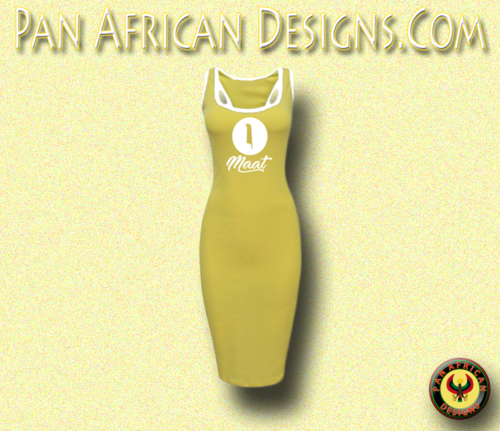 Women's Yellow with White Trim Goddess Maat Casual Raceback Bodycon Dress