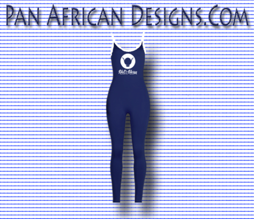 Women's Navy Blue Het-Heru Full Length (Bodycon) Jumpsuit with White Spaghetti Strap & side stripes