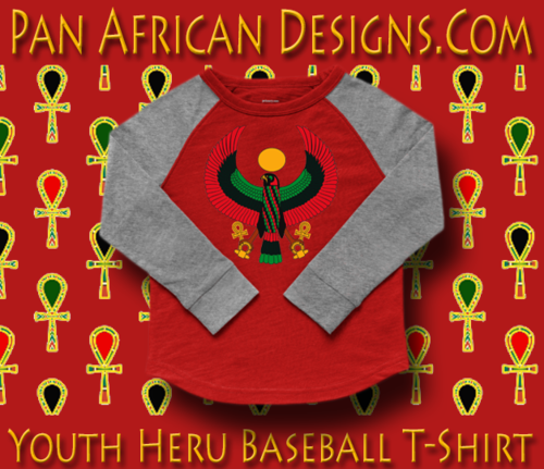 Youth Red and Heather Grey Heru Baseball T-Shirt