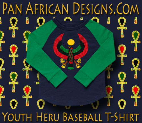 Youth Navy Blue and Kelly Green Heru Baseball T-Shirt