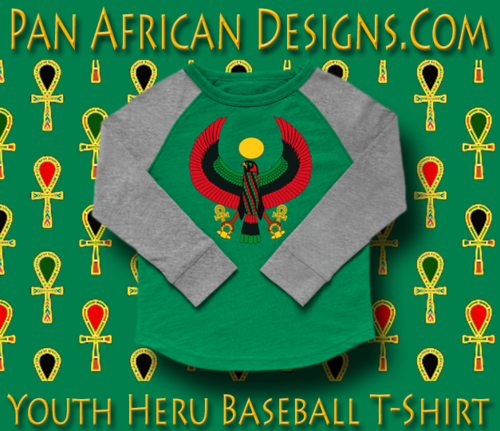 Youth Kelly Green and Heather Grey Heru Baseball T-Shirt