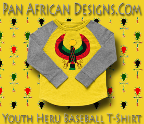 Youth Yellow and Heather Grey Heru Baseball T-Shirt