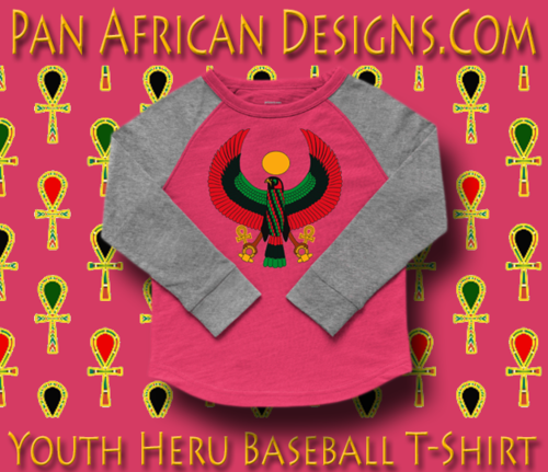 Youth Hot Pink and Heather Grey Heru Baseball T-Shirt