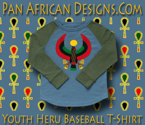 Youth Slate Blue and Military Green Heru Baseball T-Shirt