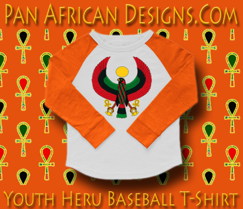 Youth White and Orange Heru Baseball T-Shirt