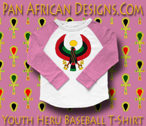 Youth Lilac and Orange Heru Baseball T-Shirt